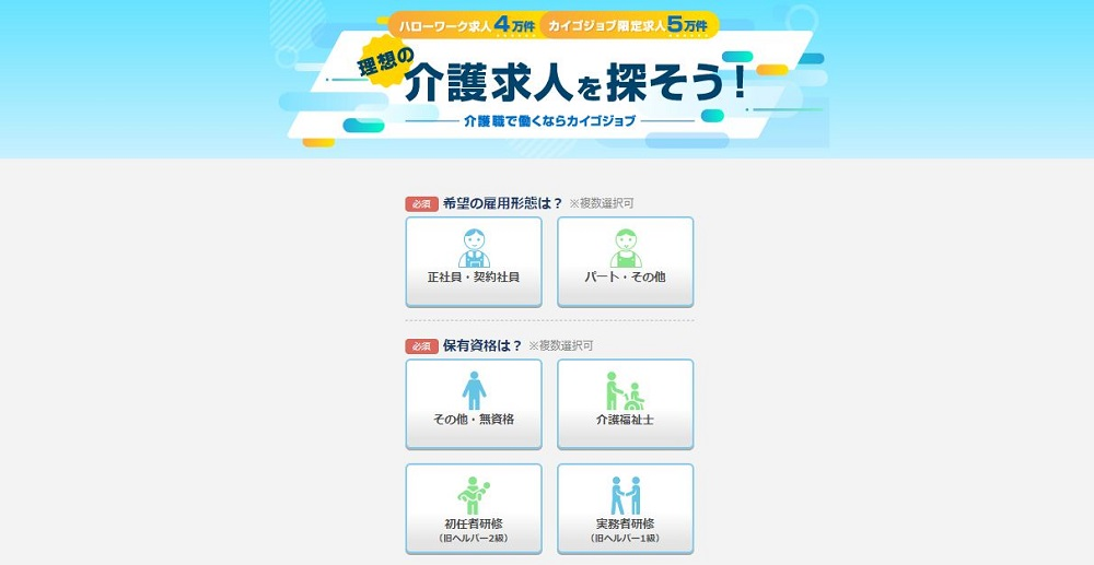 カイゴジョブ公式サイトイメージ図